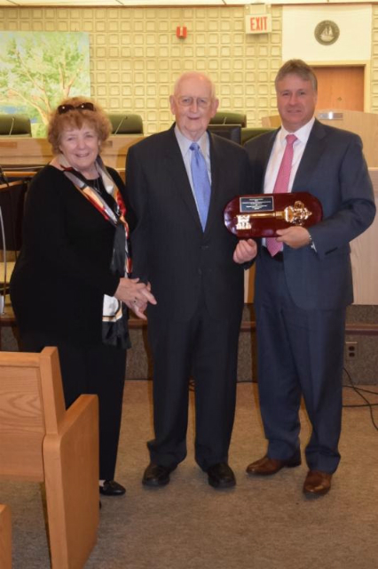 Bob and Carol Holton Receiving Key of the City of Bayonne. Photo by Stacey Holton-Tobin